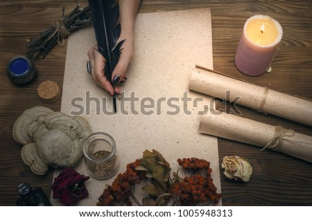 Ancient magic scroll paper sheet with copy space. Witchcraft. Witch doctor desk table. Magic potion. Alternative medicine concept. #1005948313
