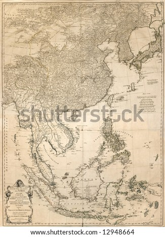 ancient map of east Asia from 1786 - stock photo