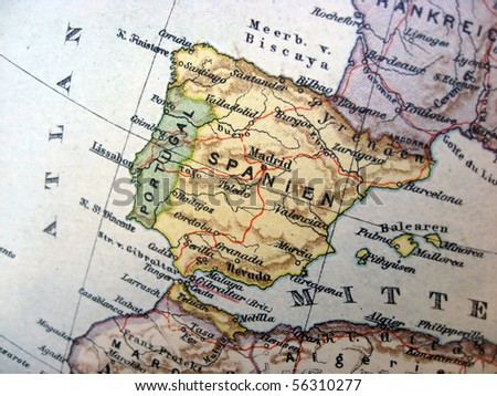 Ancient map of Spain. Handmade in 1881