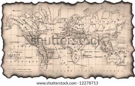 Ancient map of the world. The torn, scorched edges. #12278713