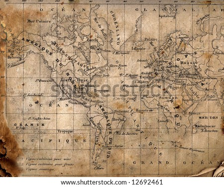Ancient map of the world. The torn, scorched edges.