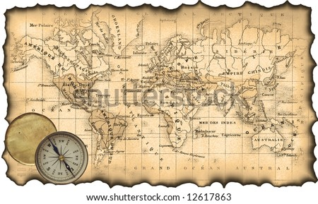 Ancient map of the world. The torn, scorched edges. Compass.