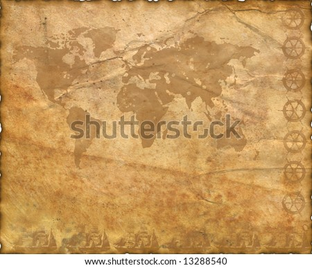 Ancient map of the world. The torn, scorched edges. Old Paper Texture .