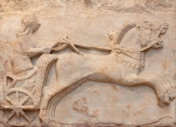 Ancient marble bas relief of a Charioteer - famous landmark of Archaic period, late 6th century BC, from Cyzicus (Erdek), Turkey