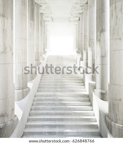 Ancient marble columns and stairs leading to success. 3D Rendering