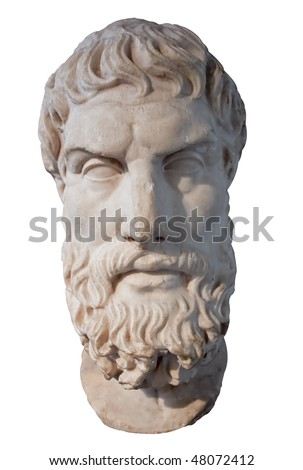 Ancient marble head of the greek philosopher Epikouros isolated on white with clipping path