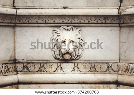 Ancient Marble Lion Head Bas-Relief on the Wall. Architecture Details Close Up.