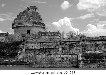 Ancient Maya observatory in Chichen Itza, Mexico - stock photo