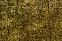 Ancient Maya script carved on the stone wall
