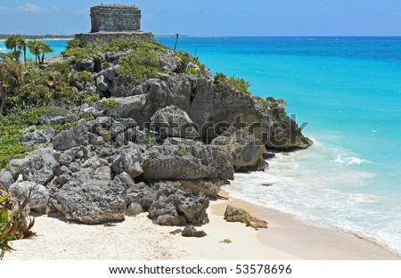 Ancient Mayan building above the Caribbean coast