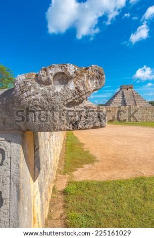 Ancient Mayan civilization historical ruins. Kukulcan Temple at Chichen Itza, Mexico.