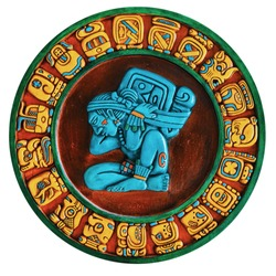 Ancient Mayan Colored Glyphs Isolated