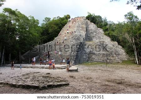 ancient mayan pyramid ruins...