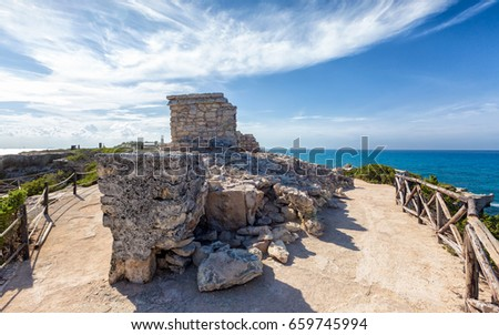 Shutterstock Ancient Mayan Ruins at the Cliff of the Dawn on Isla Mujeres, Mexico