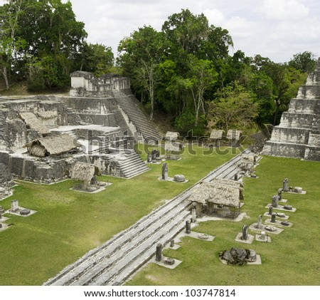 ancient mayan ruins in jungle Tikal