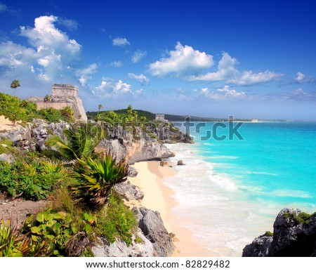 ancient Mayan ruins temple of Tulum in Caribbean turquoise sea shore