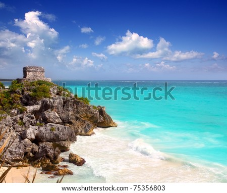 ancient Mayan ruins Tulum Caribbean turquoise sea direct high view