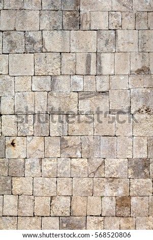 Ancient Mayan stone wall of the Great Ball Court in Chichen Itza #568520806