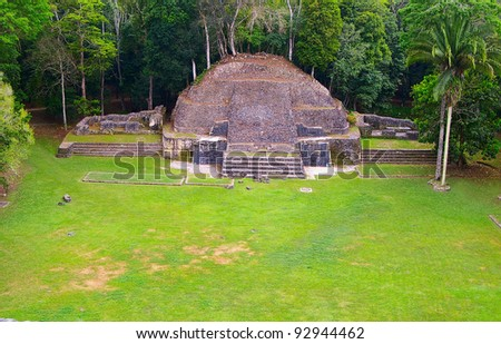 Ancient Mayan temple in Caracol, Belize, Central America