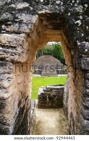 Ancient Mayan temple ruins in Caracol, Belize