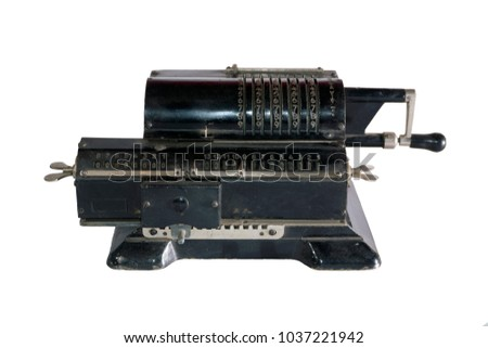 ancient mechanical calculator (arithmometer) isolated #1037221942