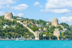 Ancient medieval castle Rumeli Hisari built on a hill above a Bosphorus in Istanbul in Turkey. The fortress was constructed by Ottoman Turks in 15th century before the siege of Constantinople