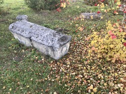 Ancient medieval gravestone of limestone in the Russian monastery cemetery.