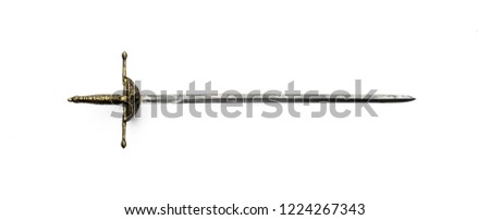 ancient medieval swords on white isolated background #1224267343