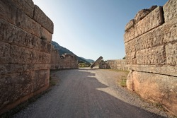 ANCIENT MESSENE, GREECE - July 22, 2018 .Panoramic view of the Arcadia Gate on the way to go to Ancient Messene