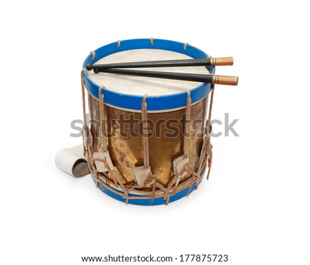 ancient military drum on white...