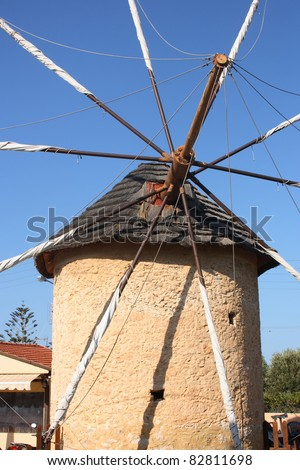 Ancient mill in Hersonissos town, Crete, Greece