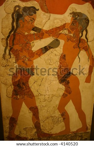 Ancient Minoan Fresco of Boys Boxing