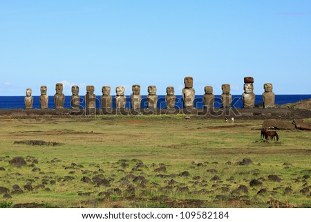 Ancient Moai statues on Easter Island in the Pacific Ocean off the coast of Chile