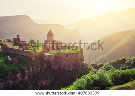 ancient monastery in setting...