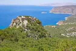 Ancient Monolithos Castle on a hilltop in Rhodes Island, Greece