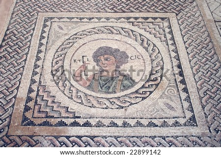 Ancient mosaic at Kourion depicting Ktisis