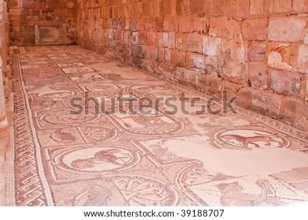 ancient mosaic in an christian church in Petra (Jordan)