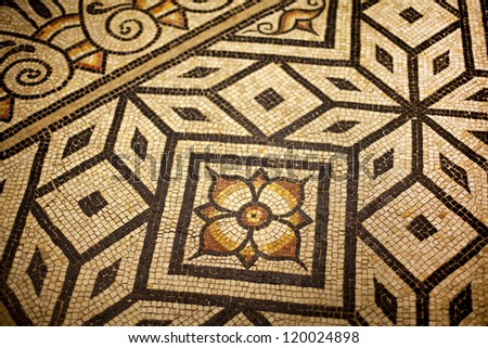 Ancient mosaic on the floor of a house