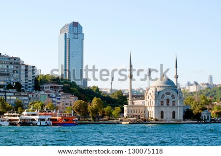 Ancient mosque and modern skyscraper. Istanbul. Turkey