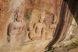 ancient mural Hinduism Lord Vishnu or shiva Hindu goddess khmer style art on the cliff of Pha Mor E Daeng, Khao Phra Wihan National Park, Sisaket Province, Thailand,