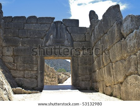 Ancient Mycenae, gate of the lions, Peloponnesus, Greece