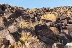 Ancient Native American Rock Art in Petroglyph National Monument, Albuquerque, New Mexico