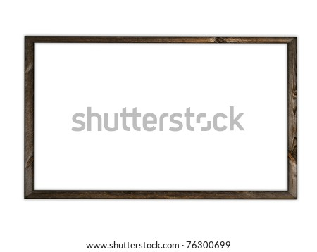 ancient natural wooden frame over white background