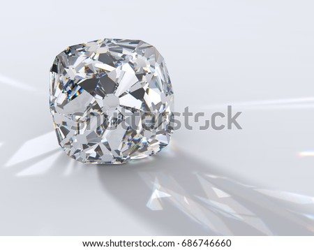 Ancient Old Mine cushion cut diamond  with reflection, dispersion rays and shadow on light gray background. Close-up view. 3D rendering illustration