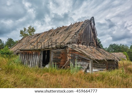 ancient old wooden hut.