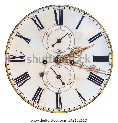 Ancient ornamental clock face with roman numbers isolated on a white background