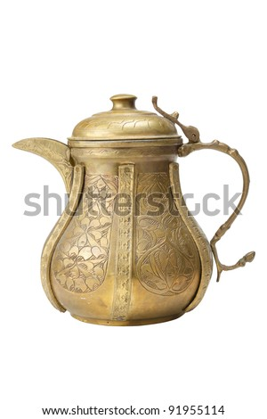 Ancient ornamental teapot, jug on white background