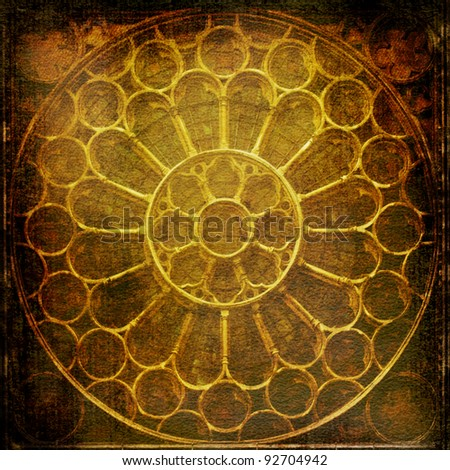 ancient ornamental window with antique style texture