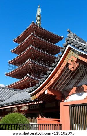 Ancient pagoda at Sensoji Asakusa Temple in Tokyo, Japan