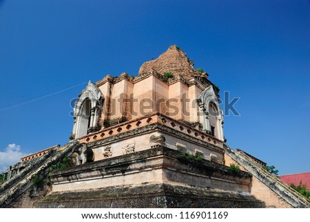 Ancient Pagoda of Chedi luang temple in chiangmai,Thailand